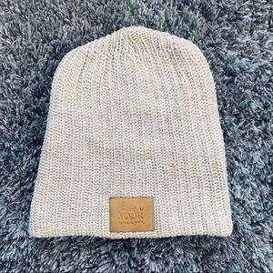 Love Your Melon Cream Beanie with Leather Patch